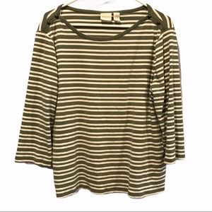 Chico's green striped long sleeve shirt size 3x